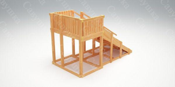 Зимняя деревянная игровая горка Савушка «Зима wood» — 3_2