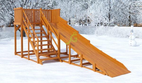 Детская деревянная зимняя горка Snow Fox скат 5.9 м