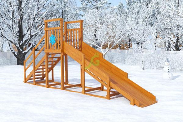 Зимняя горка Снежинка скат 4 м