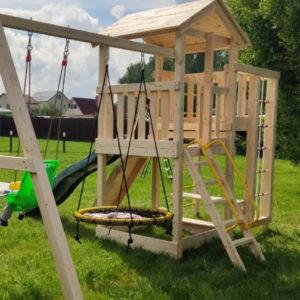 Детский игровой комплекс для дачи Лео + качели-гнездо 0.8м + баскет3